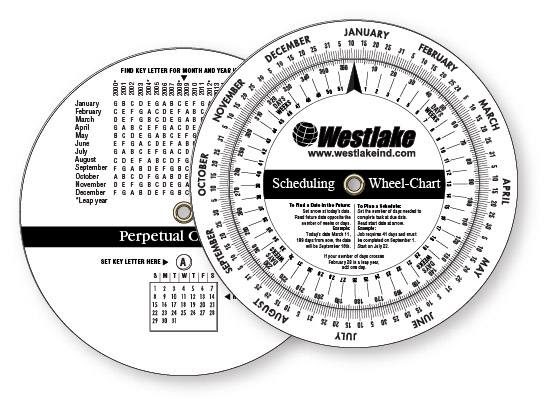 020 Custom Imprinted White Gloss Vinyl Plastic Wheel Calculator Perpetual Calendar Scheduling 425 Dia Screen Printed